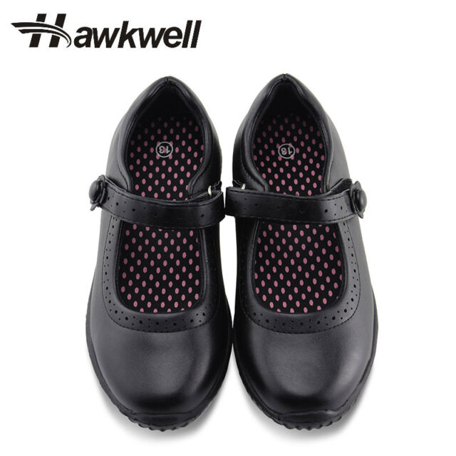 Girls Mary Jane Flat Flower Black School Shoes Dress Hook Loop Uniform Hawkwell