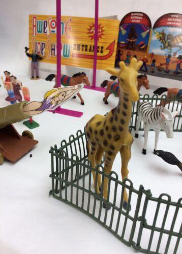 Nouveau 60 pièces Set TOYS CIRCUS Lot Jeu Enfants Animal Figurines Carnaval Clowns 1