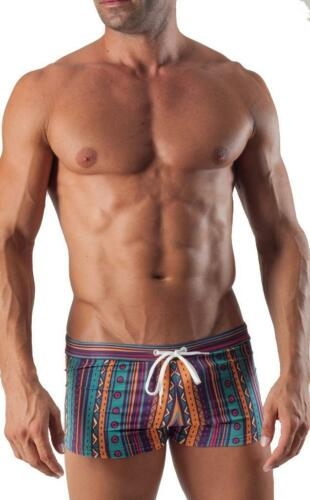 Geronimo Da Uomo Costume da Bagno a Righe Quadrato Taglio Boxer Trunks Costume Nuoto colorato