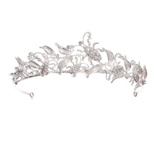 4.8cm High Crystal Insect Leaf Tiara Crown Wedding Bridal Party Pageant Prom