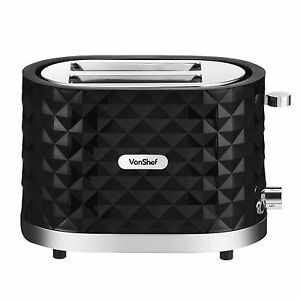 VonShef Diamond Toaster 2 Slice Black Gloss Wide Slot Slide Out Crumb Tray 1000W