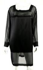 ALBERTA FERRETTI Black Silk Satin & Chiffon Long-Sleeve Shift Dress 48