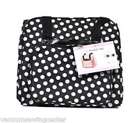 Hemline Dotty Black Polka Dots Serger Overlock Tote Bag