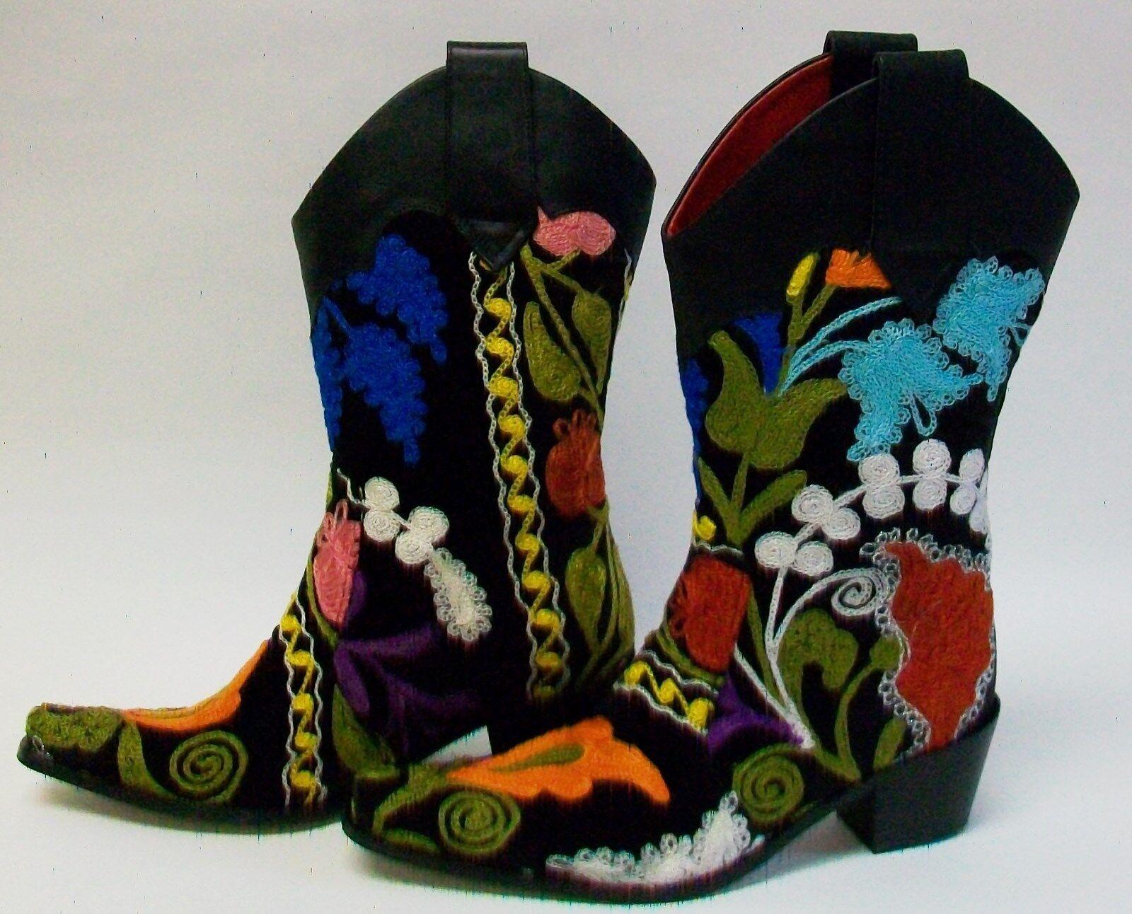 Tamaño 39-U.S - - - nueve corto de terciopelo negro bordado suzani bota,, 2 1 4  tacón cubano,  promociones de descuento