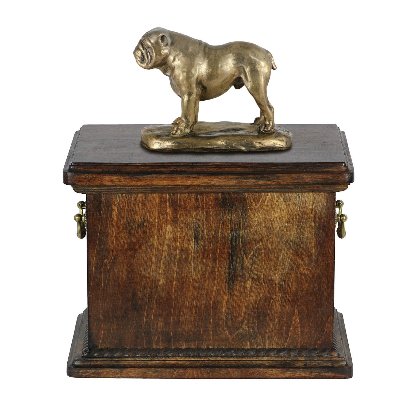 Englisch Bulldogge Gedenken Urne für Hunde Asche, Massivholz FeuerBesteattung für