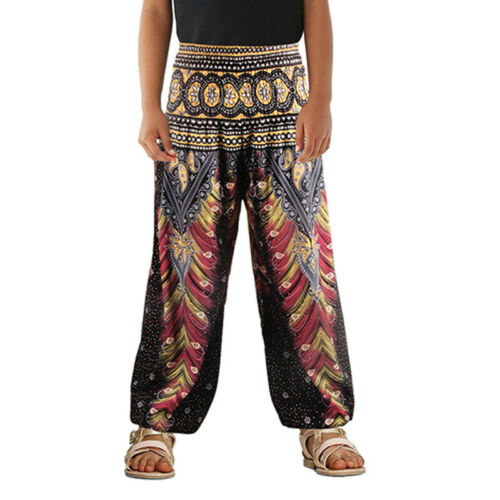 Kids Girls Boys Plain Harem Pants Ali Baba Leggings Baggy Aladin Boho Trousers