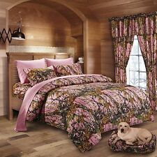 12PC PINK CAMO  COMFORTER SHEET SET CURTAINS WOODS QUEEN SIZE CAMOFLAUGE BEDDING