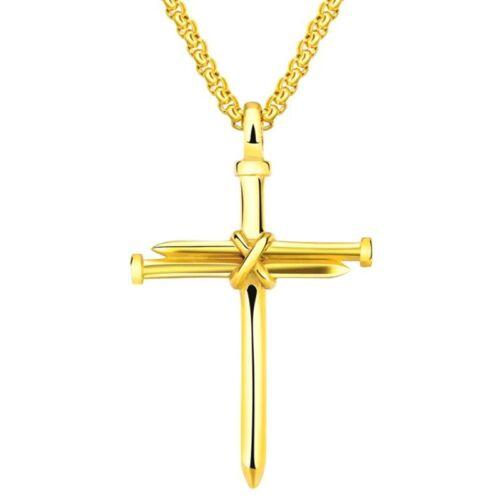 Mode Edelstahl Nagel Schnur Kreuz Anhänger Halskette Schmuck für Herren #9.xkj