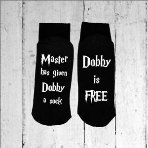 Dobby-is-Free-Black-Socks-Printed-on-the-Sole-Choose-from-25-Print-Colours