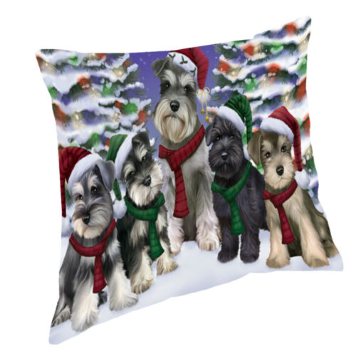 Schnauzers Dog Christmas scenic background Throw Pillow 14x14