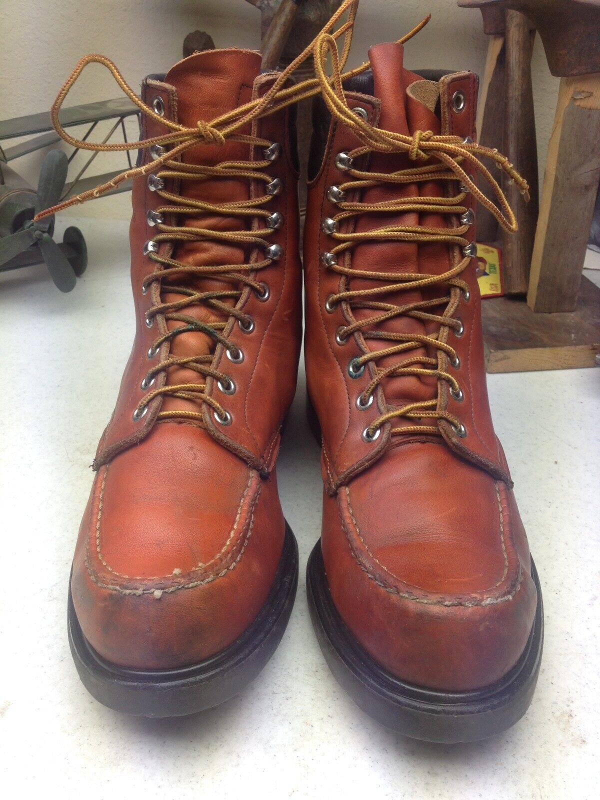 OXBLOOD  ROSSO WING VINTAGE MADE IN USA ENGINEER TRAIL BOSS BOOTS 9-10.5 M D