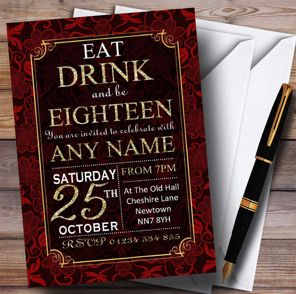 rot & Gold Flowers 18th Personalised Birthday Party Invitations