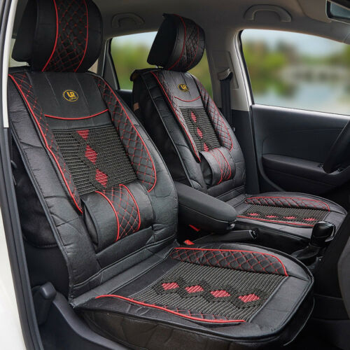 1x Universal Fit PU Leather Car Seat Cover Cushion Back Support Waist Massage UK