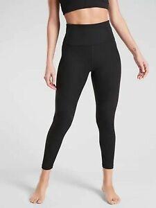 ATHLETA Rise Up Rib 7/8 Tight Leggings sz S Small Black SOFT Yoga Workout NWT