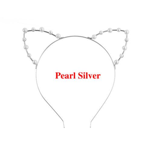 Alloy Rhinestones Cute Cat Ear Headband Fashion Women Girl Hair Band Silver//Gold