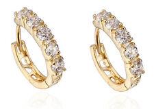 18 k Gold Plated Earrings for Small Girls or Women White Zircons Hoops  E715