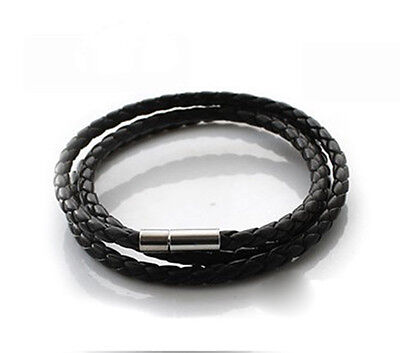 Trendy Hot New High Quality PU Leather Cord Necklace Twist Chain Stainless