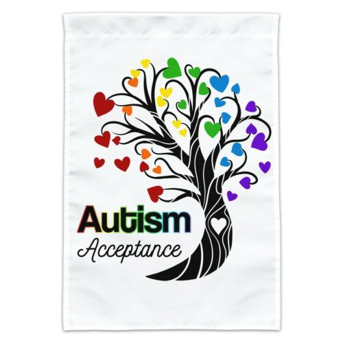 Autism Acceptance Tree of Life with Hearts Garden Yard Flag