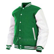Handmade Varsity College School Baseball Jacket Wool & Real Leather Sleeves