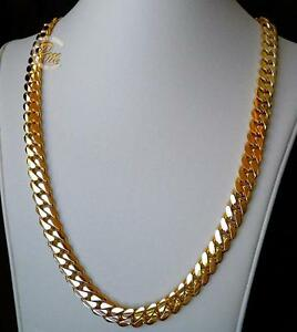 4bc4a4d0a Solid 14K Gold Miami Men's Cuban Curb Link Chain Necklace 24