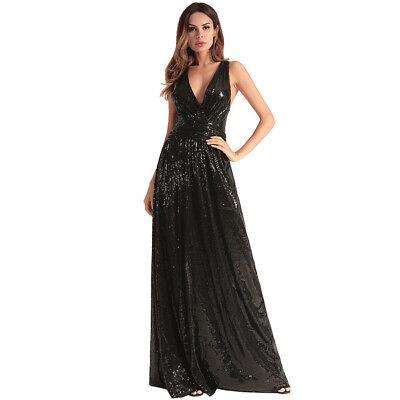 low priced 5b2a4 52280 Elegante vestito abito lungo donna evento nero sera strass slim morbido  4144 | eBay