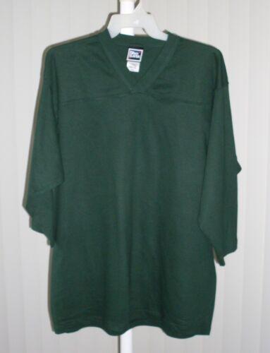 Tee Shirt V Neck 3//4 Length Sleeve Plain Green New XL