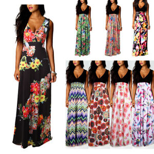 ce032e4a133ae Details about Women Boho Maxi Summer Beach Long Cocktail Party Floral Dress  Sleeveless S-5XL