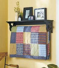 DELUXE QUILT BLANKET HOLDER WALL STORAGE RACK WITH SHELF SCROLLED - BLACK FINISH