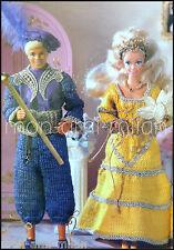Knitting/Crochet Pattern Copy BARBIE & KEN DOLLS BAROQUE OUTFITS DRESS TROUSERS