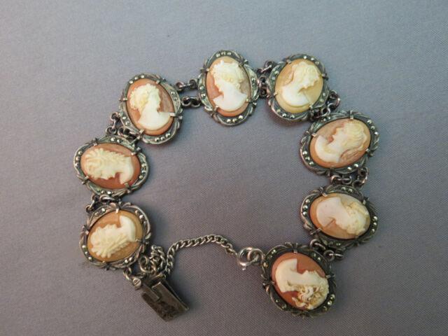 "Antique Cameo Bracelet Carved Shell Marked 800 Marcasites Estate Silver 7"" Fine"