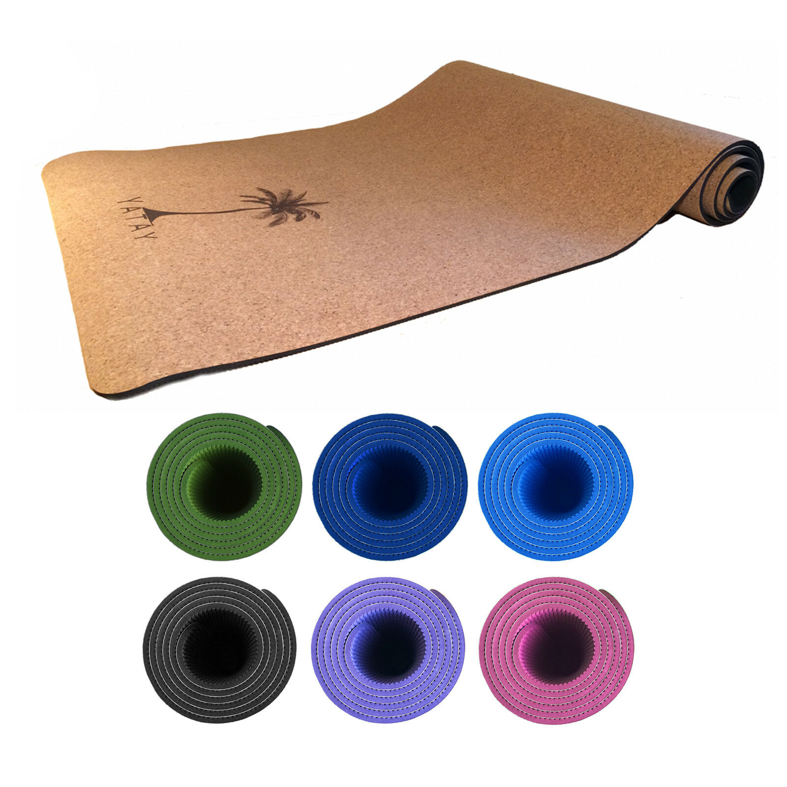 Yatay Cork TPE Non-Slip Exercise Fitness Fitness Exercise Yoga Mat 5mm 2b3645
