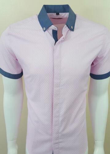 Da Uomo in Denim Colletto Manica Corta Camicia Formale Vestito Casual FM £ 19.99 a 14.90 304
