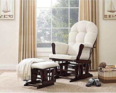 Glider Rocker Nursery Rocking Chair With Ottoman Best Espresso Beige Cushions Ebay