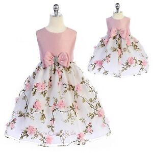 1a141dd195bbd Details about Pink Flower Girls Dress 3D Flowers Floral Print Wedding Party  Easter Baby Kids