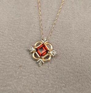 NEW-14Kt-Yellow-Gold-Emerald-Cut-Garnet-And-Diamond-Pendant-18-034-Rope-Chain-USA