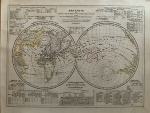 1852-WORLD-HEMISPHERES-PHYSICAL-MAP-HAND-COLOURED-ANTIQUE-MAP-BY-JOSEPH-MEYER
