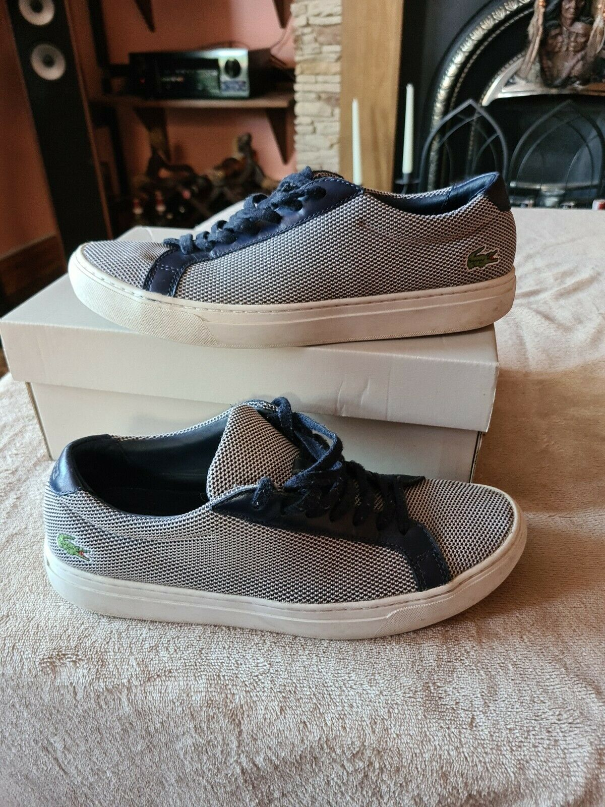 Lacoste Mens Trainers Size Uk 8 Very Good Condition