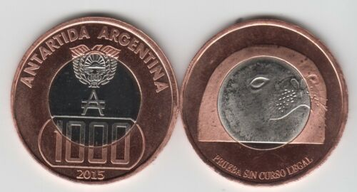 unusual Seal ARGENTINIAN ANTARCTIC,1000 Australes 2015 Ø35mm bimetal