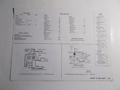 1972 1973 MOTOR DART VALIANT VACUUM & WIRING DIAGRAMS ...