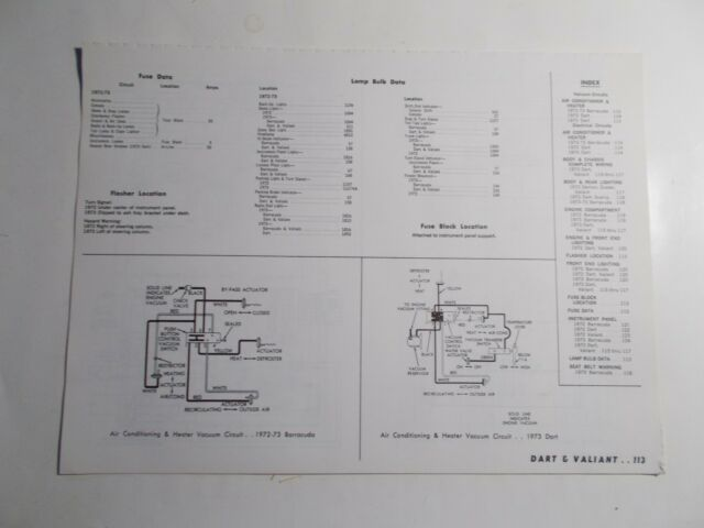1972 1973 Motor Dart Valiant Vacuum  U0026 Wiring Diagrams