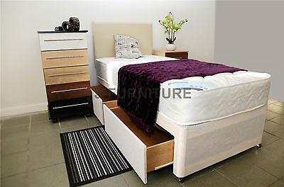 Single Divan Bed with 22cm Deep Mattress. 2 Base Colours. Headboard. Storage.