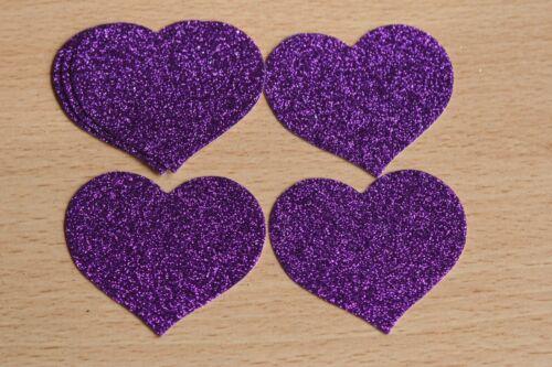 tarjetas Toppers boda 15 Large DIE CUT Cadbury Púrpura Brillo Corazones artesanías