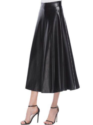 Women High Waist Long Maxi Skirts Swing PU Leather Flared Pleated A-Line Dress