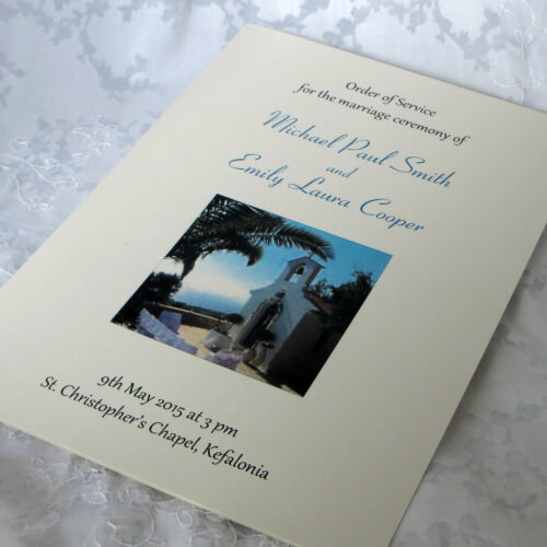 Cover Double Sided or Booklet Personalised Wedding Order of Service