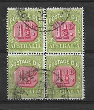 AUSTRALIA, KGV, 1922 POSTAGE DUE, 1 1/2d SG D93, FINE USED,BLOCK 4 CAT 36GBP