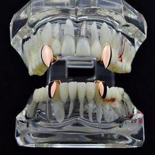 Vampire Fang Set Top Fangs & Two Bottom Caps 14k Rose Gold Plated Dracula Teeth