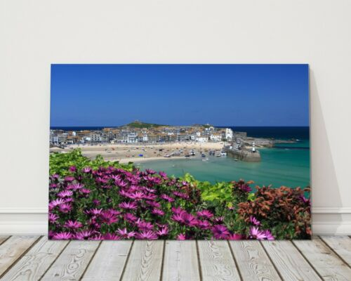 st ives flowers and harbour bay cornwall canvas picture print framed