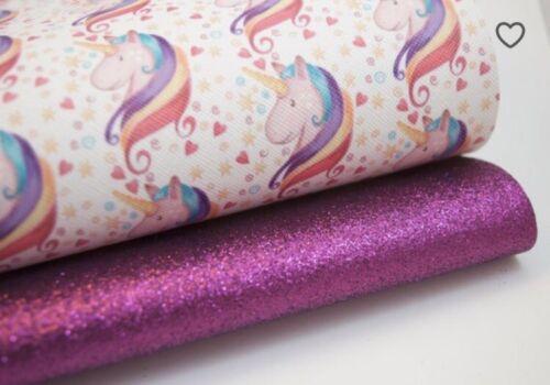"Unicorn Rainbow Glitter Fabric Sheets 8 x 11/"" Hair bow Crafts Vinyl 2 pack"