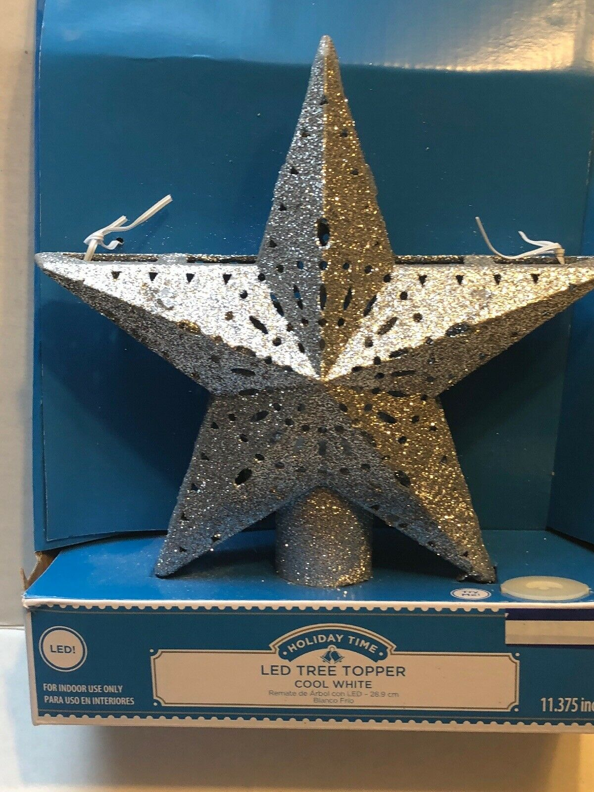 """Holiday Time 11.3/"""" Silver Star Tree Topper With 3 LED Cool White Oscillating Lts"""