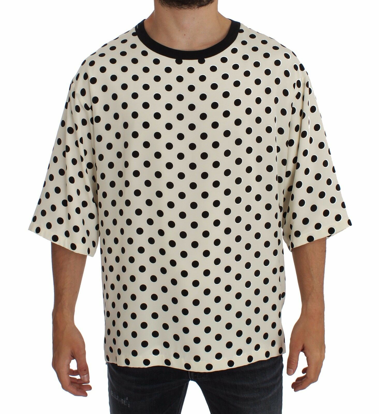 Nuova con Etichetta Dolce & Gabbana Bianco Nero a Pois Seta Girocollo T-Shirt